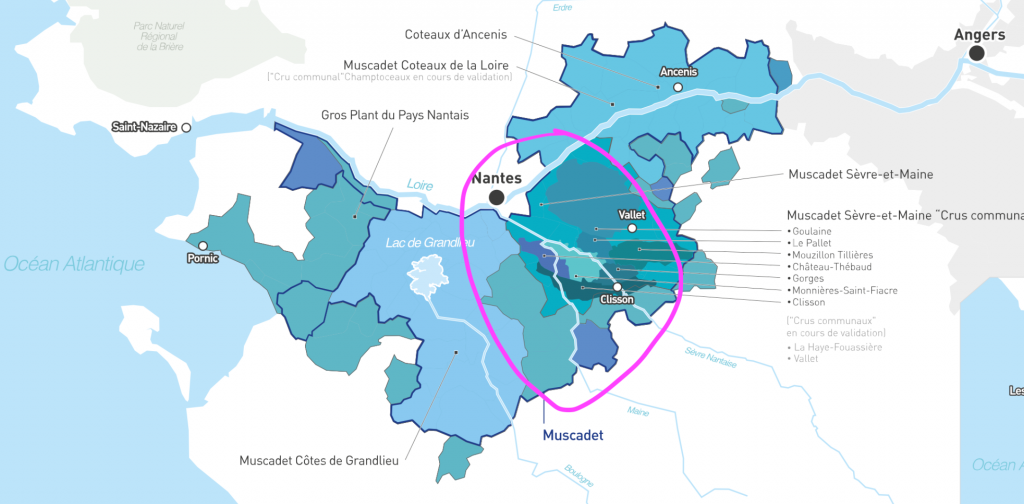"""Map of Muscadet Loire, wine growing regions with """"Sèvre et Main"""" sub-region circled"""