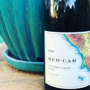 Close up of bottle label of Red Car Syrah Sonoma Coast 2012
